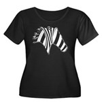 Zebra Swirl Art Women's Plus Size Scoop Neck Dark