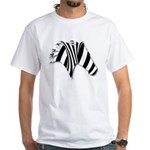 Zebra Swirl Art White T-Shirt