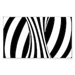 Zebra Swirl Art Sticker (Rectangle)