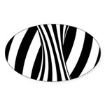 Zebra Swirl Art Sticker (Oval)