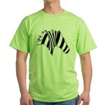Zebra Swirl Art Green T-Shirt