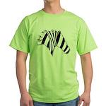 Zebra Swirl Art Green T-Shirt