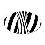 Zebra Swirl Art 38.5 x 24.5 Oval Wall Peel
