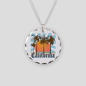 Vintage California Necklace Circle Charm