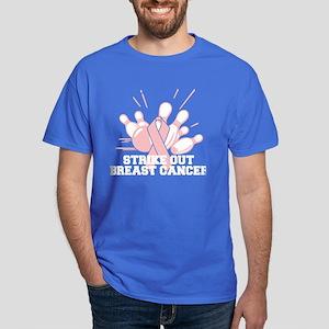 Bowling Strike Out Cancer Dark T-Shirt