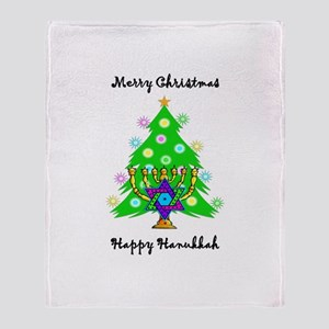 Hanukkah and Christmas Interfaith Throw Blanket