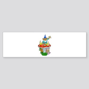 Cartoon illustration of a gnome sit Bumper Sticker