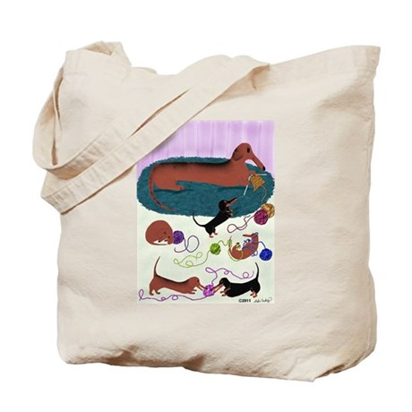 Knitting Dachshund Tote Bag