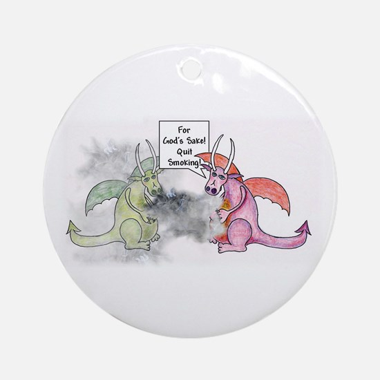 Smoking Dragon Ornament (Round)