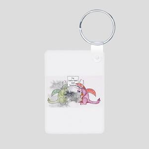 Smoking Dragon Aluminum Photo Keychain