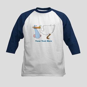 Baby Boy With Stork Kids Baseball Jersey
