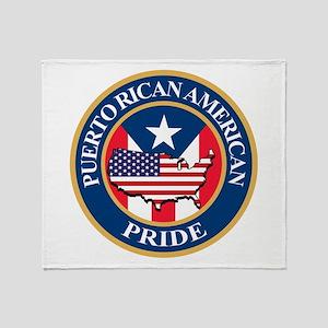 Puerto Rican American Pride Throw Blanket