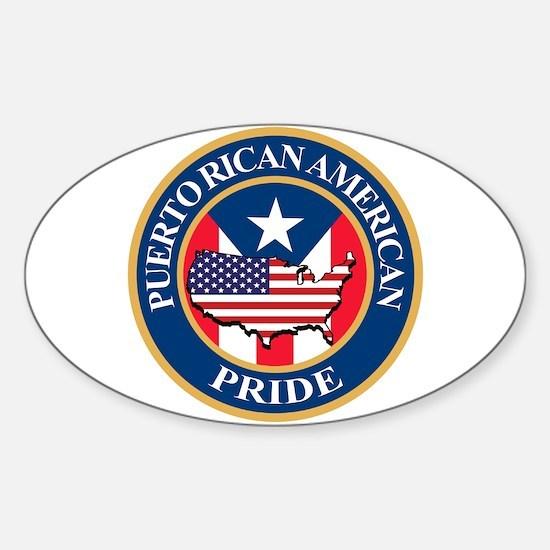 Puerto Rican American Pride Sticker (Oval)