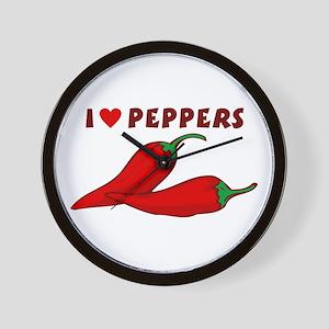 I Love Peppers Wall Clock