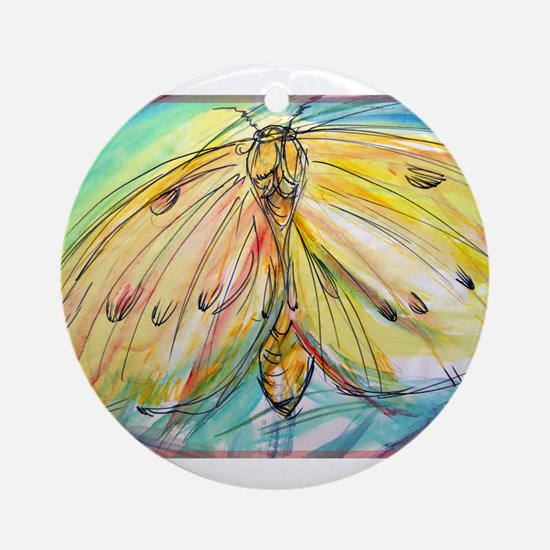 Yellow Butterfly, bright, Ornament (Round)