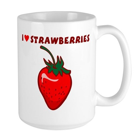 I Love Strawberries Large Coffee Mug