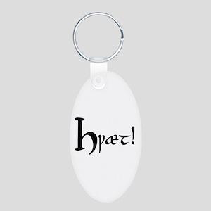 Hwaet! Aluminum Oval Keychain