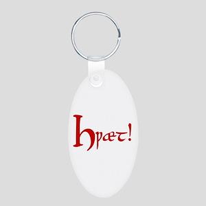 Hwaet! (Red) Aluminum Oval Keychain