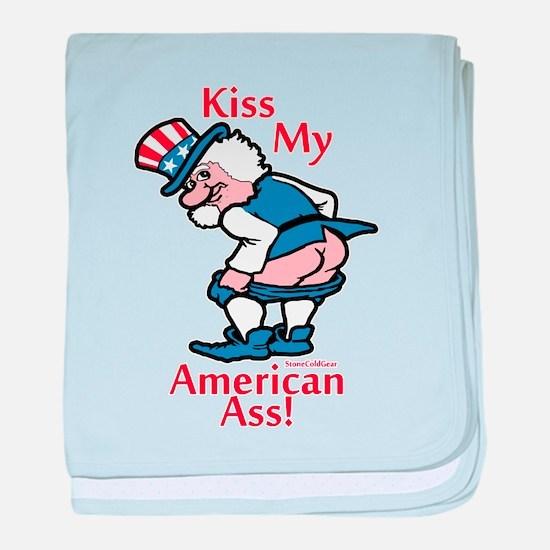 Cute Kiss my democratic ass baby blanket