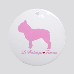 French Bulldog Pink Ornament (Round)
