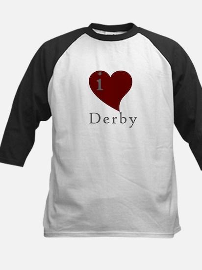 I heart Derby (red) Kids Baseball Jersey