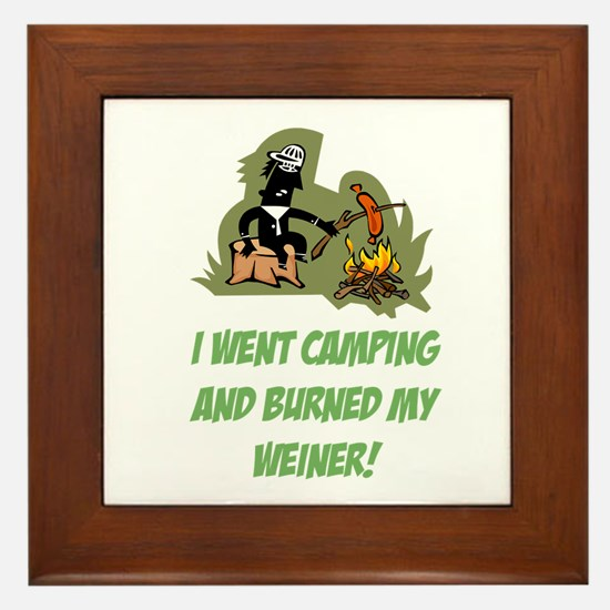 Burned My Weiner! Framed Tile