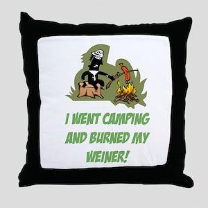 Burned My Weiner! Throw Pillow
