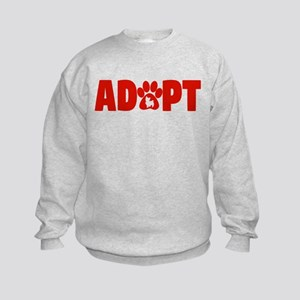 Cute Pets Paw Cat Dog Adopt Red Sweatshirt