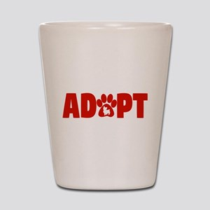 Cute Pets Paw Cat Dog Adopt Red Shot Glass