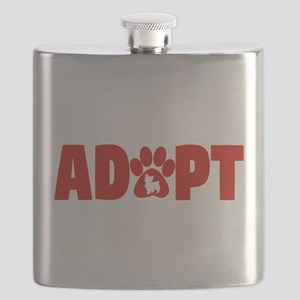 Cute Pets Paw Cat Dog Adopt Red Flask