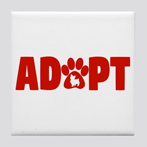 Cute Pets Paw Cat Dog Adopt Red Tile Coaster