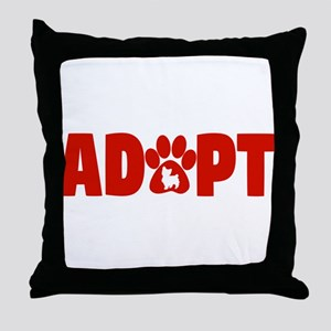 Cute Pets Paw Cat Dog Adopt Red Throw Pillow