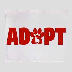Cute Pets Paw Cat Dog Adopt Red Throw Blanket