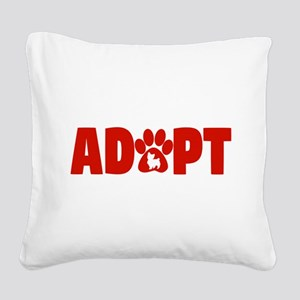 Cute Pets Paw Cat Dog Adopt R Square Canvas Pillow