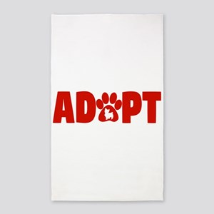 Cute Pets Paw Cat Dog Adopt Red Area Rug