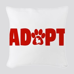 Cute Pets Paw Cat Dog Adopt Re Woven Throw Pillow