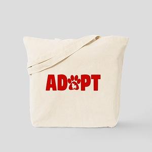 Cute Pets Paw Cat Dog Adopt Red Tote Bag