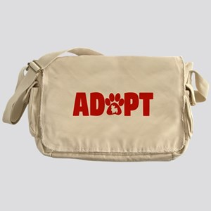 Cute Pets Paw Cat Dog Adopt Red Messenger Bag