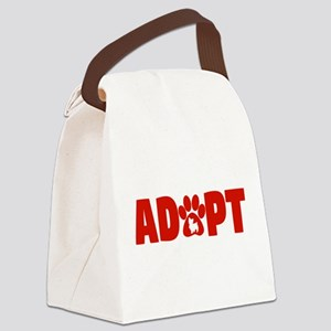 Cute Pets Paw Cat Dog Adopt Red Canvas Lunch Bag
