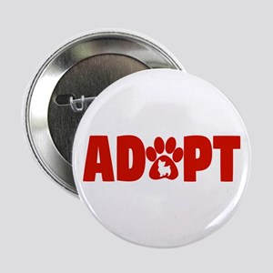 """Cute Pets Paw Cat Dog Adopt Red 2.25"""" Button"""