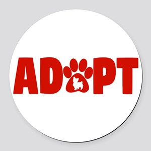 Cute Pets Paw Cat Dog Adopt Red Round Car Magnet