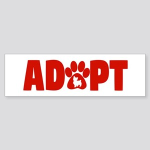 Cute Pets Paw Cat Dog Adopt Red Bumper Sticker