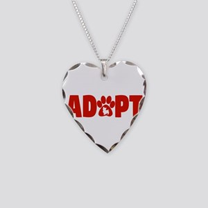 Cute Pets Paw Cat Dog Adopt R Necklace Heart Charm
