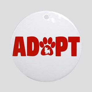 Cute Pets Paw Cat Dog Adopt Red Round Ornament