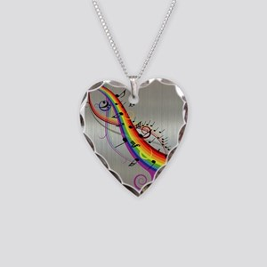Mixed color musical notes 2 Necklace Heart Charm