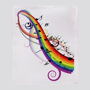 Mixed color musical notes 2 Throw Blanket