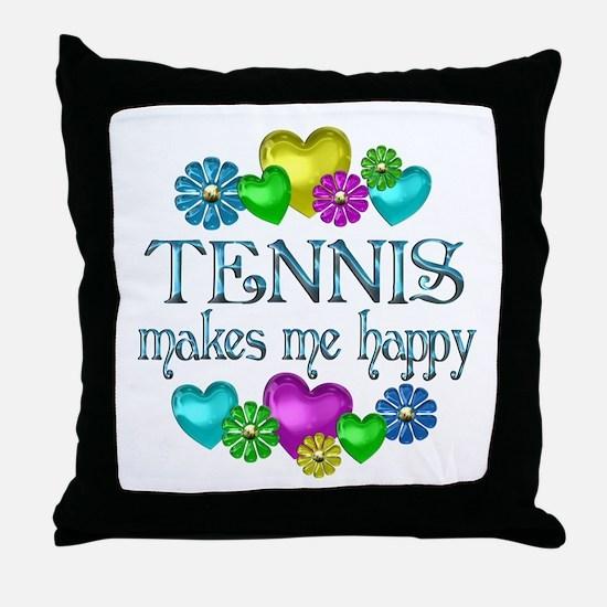 Tennis Happiness Throw Pillow