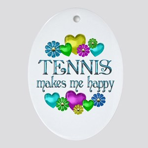 Tennis Happiness Ornament (Oval)