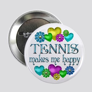 """Tennis Happiness 2.25"""" Button"""