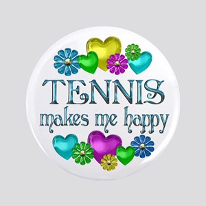 """Tennis Happiness 3.5"""" Button"""